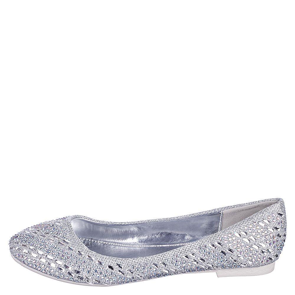 9f3d77cef080b Women s Flat Jeweled Slip On Benia-18 Silver