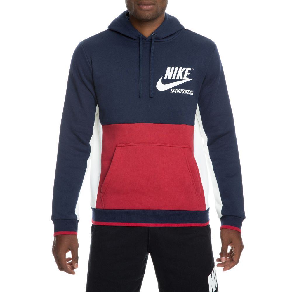 213447582e5f Men s Nike Archive Pullover Hoodie OBSIDIAN TOUGH RED SAIL SAIL
