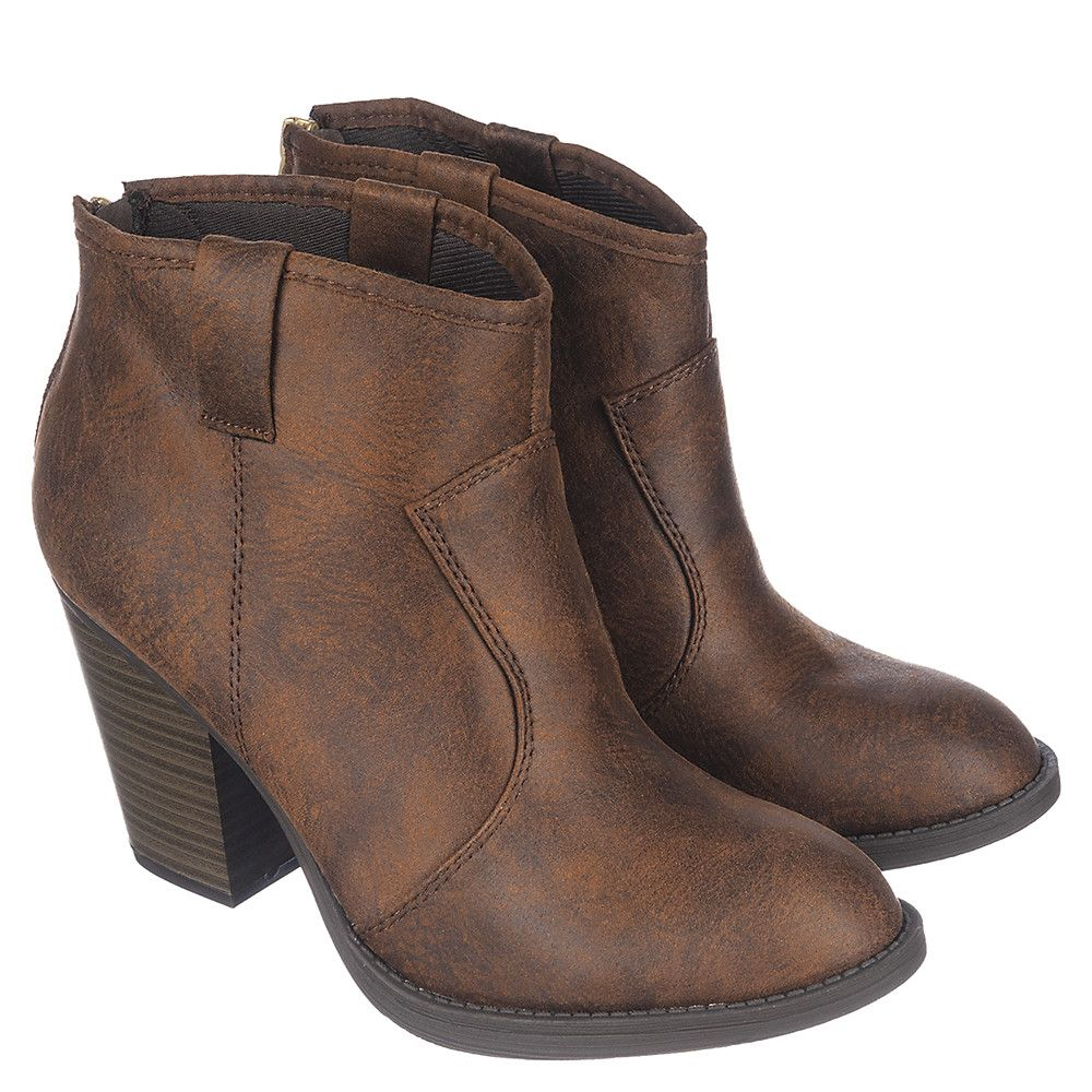 Women s Low Heel Ankle Boot Albert-S Brown eedc6f33ef