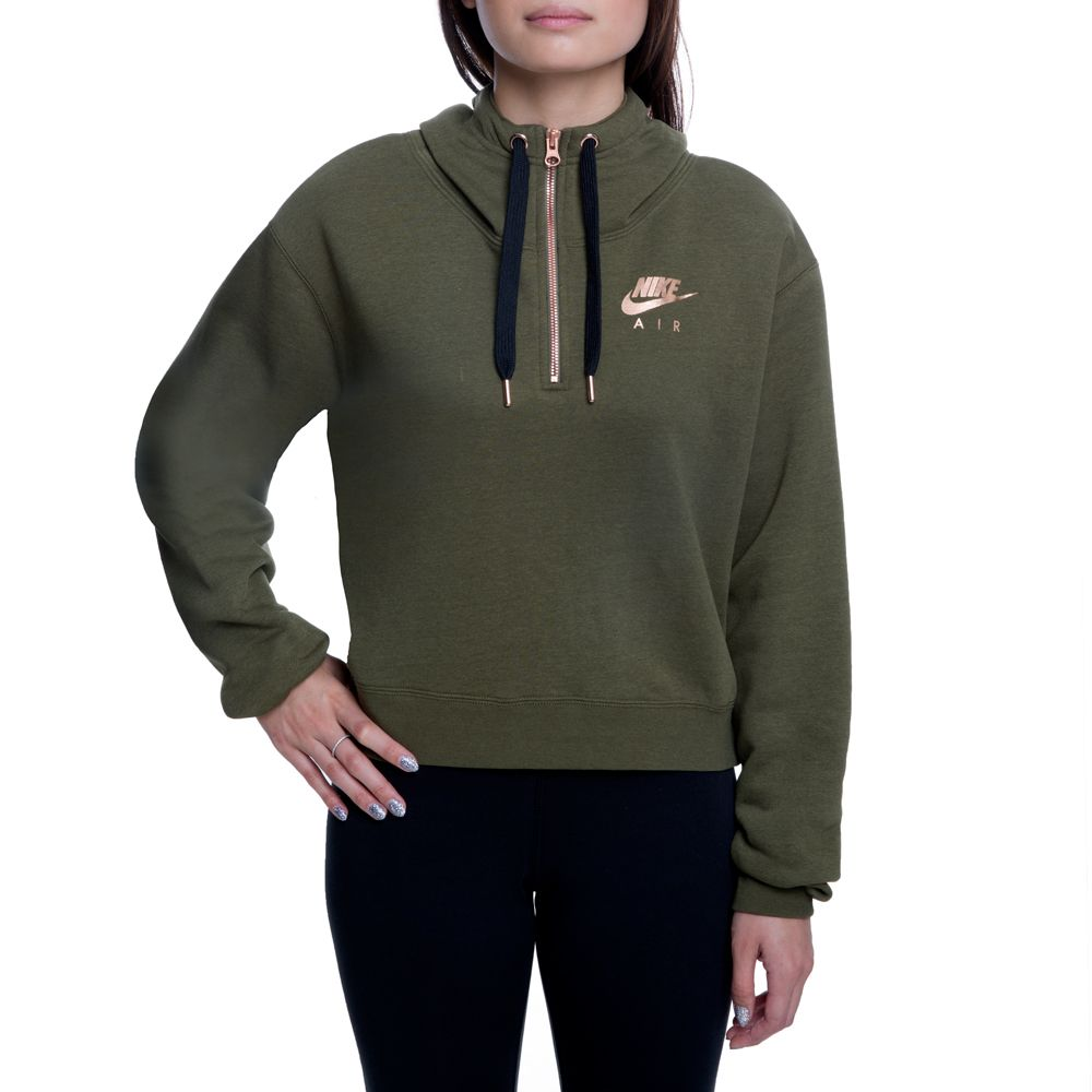5bc28d5ef837 NSW AIR HZ HOODIE FLC OLIVE CANVAS ROSE GOLD BLACK