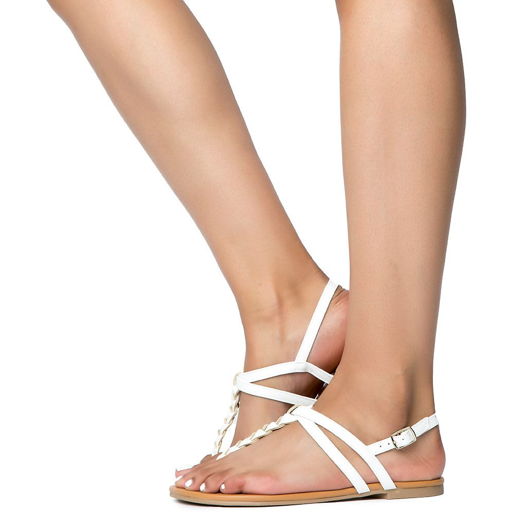 S Womens Casual Judith Pu White Sandal 6gmbfvIY7y