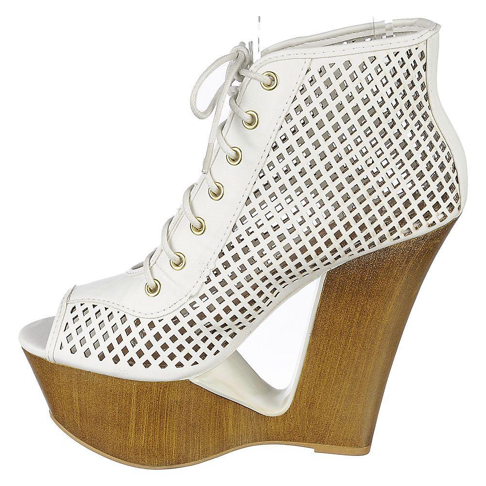 4e750a5c0d5 Women's Laura-05 High Heel Wedge Bootie White