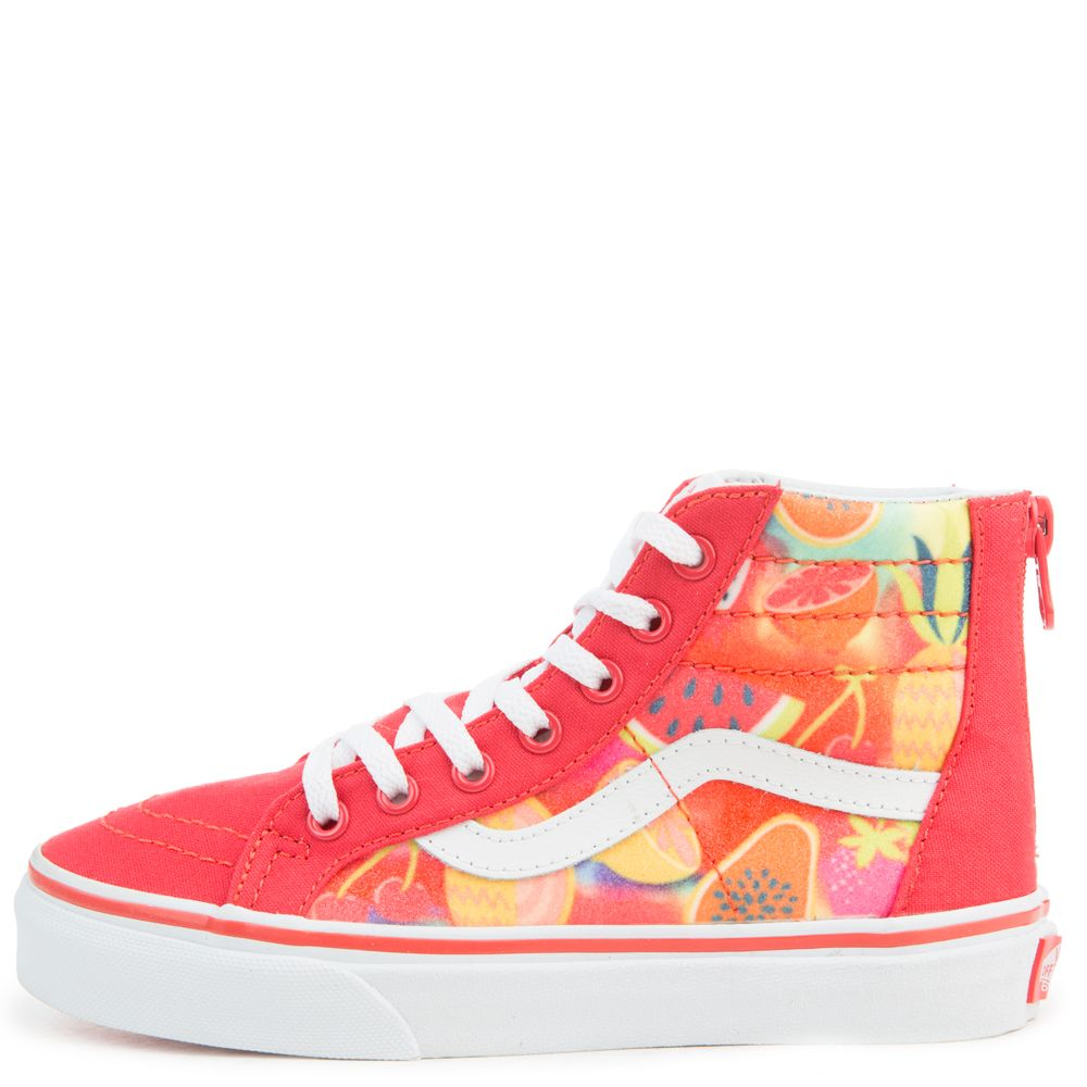 00e7cd2213df GRADE SCHOOL VANS SK8-HI ZIP FRUITS HIBISCUS TRUE WHITE