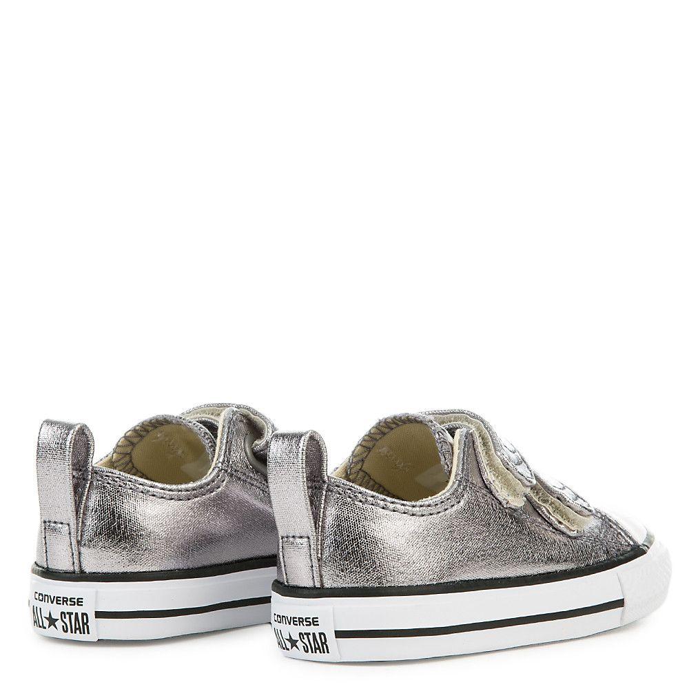 41a7e1c7f35d Infant CTAS 2V Metallic Canvas Sneaker metallic gunmetal white black