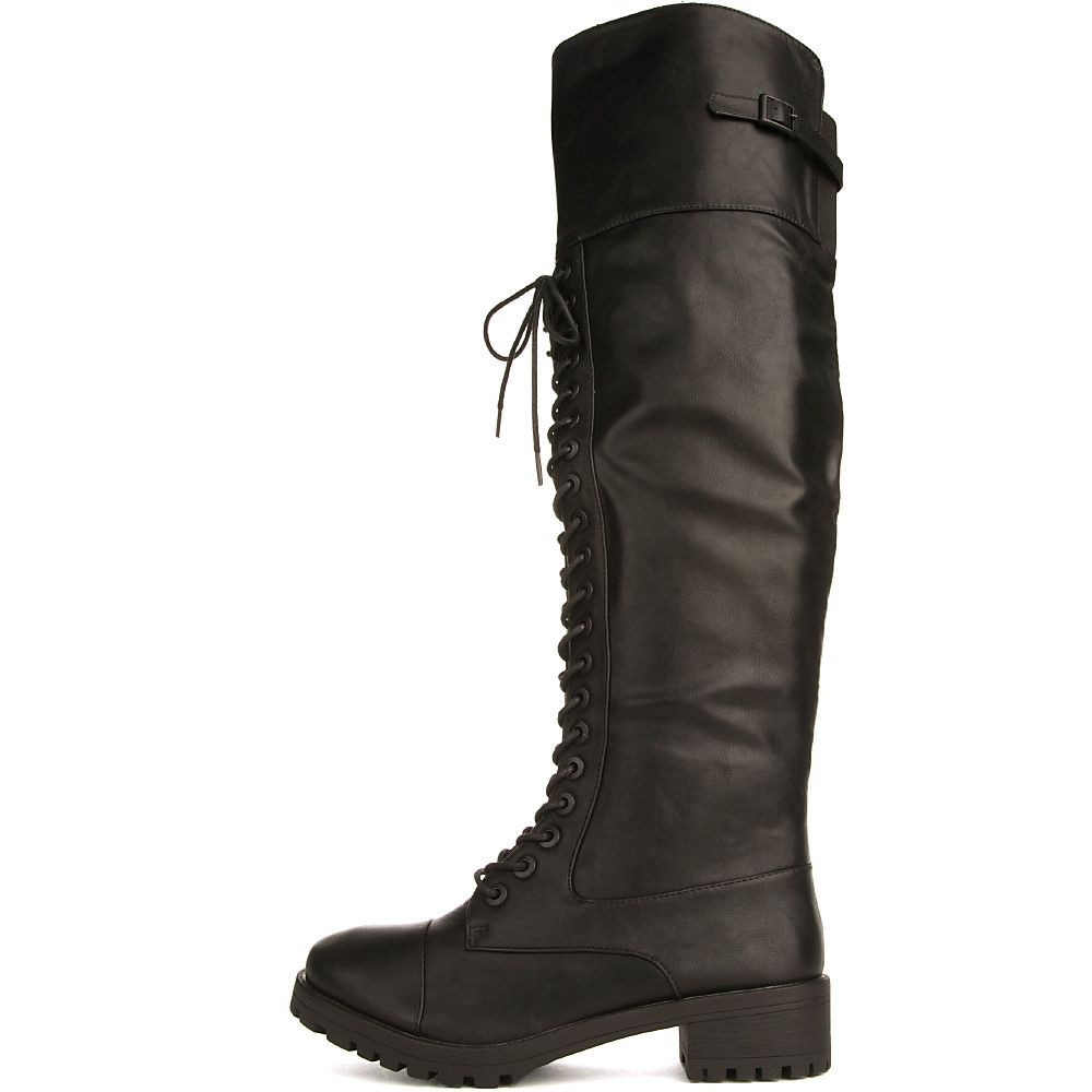 ac11c0531 Women's Commander Knee-High Combat Boot Black