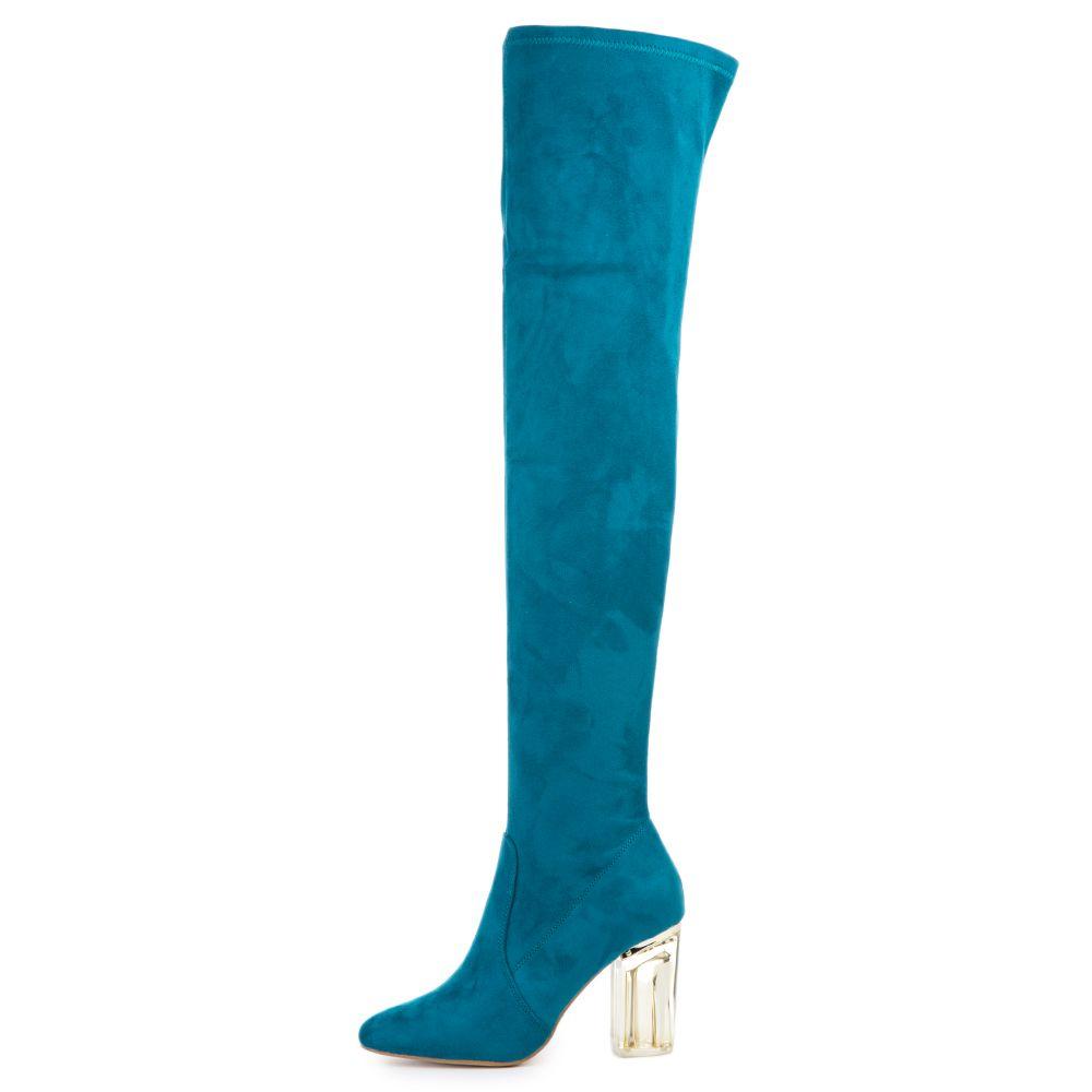 c28999840d2 Cape Robbin Women's Fay-2 Blue High Heel Boot PEACOCK