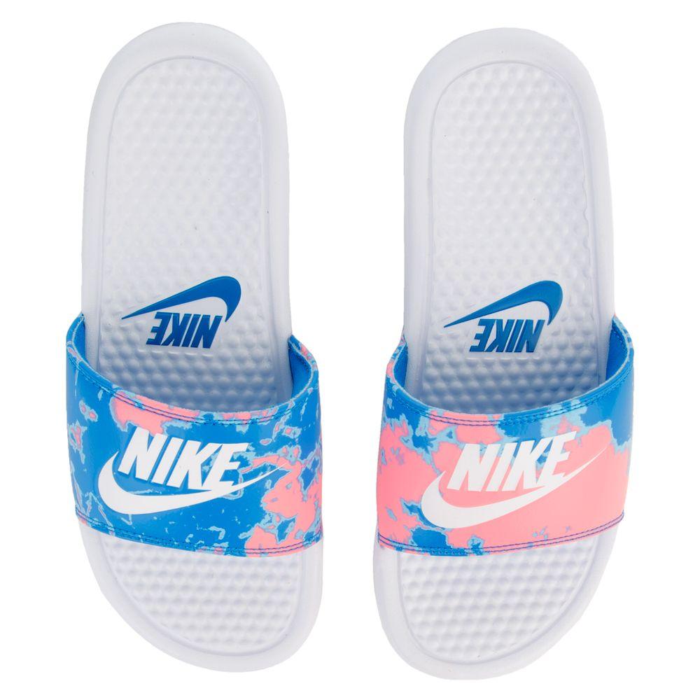 best sneakers 27680 c92ec WOMEN S NIKE SPORTWEAR BENASSI JDI PRINT WHITE WHITE-CORAL CHALK-BLUE NEBULA  ...