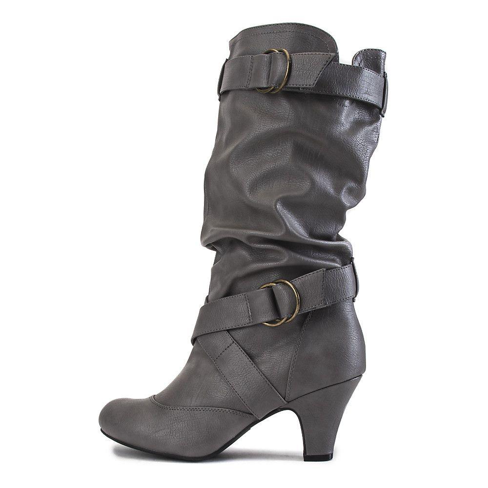 bc34cafe4db Women's Low-Heel Pocket Boot Reggie-01P Dark Grey