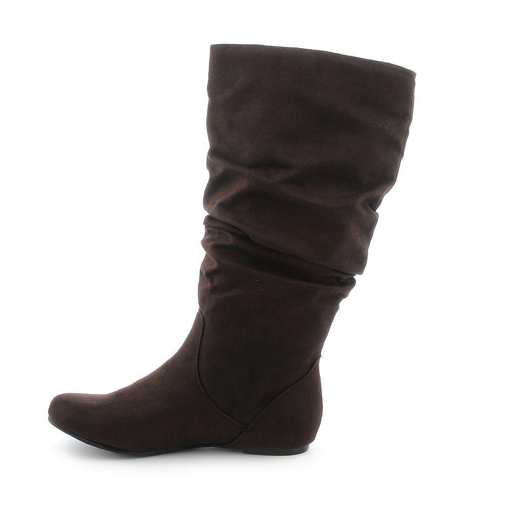 3baa196ba6716a Women s Flat Mid-Calf Boot Kalisa-04 Brown Suede