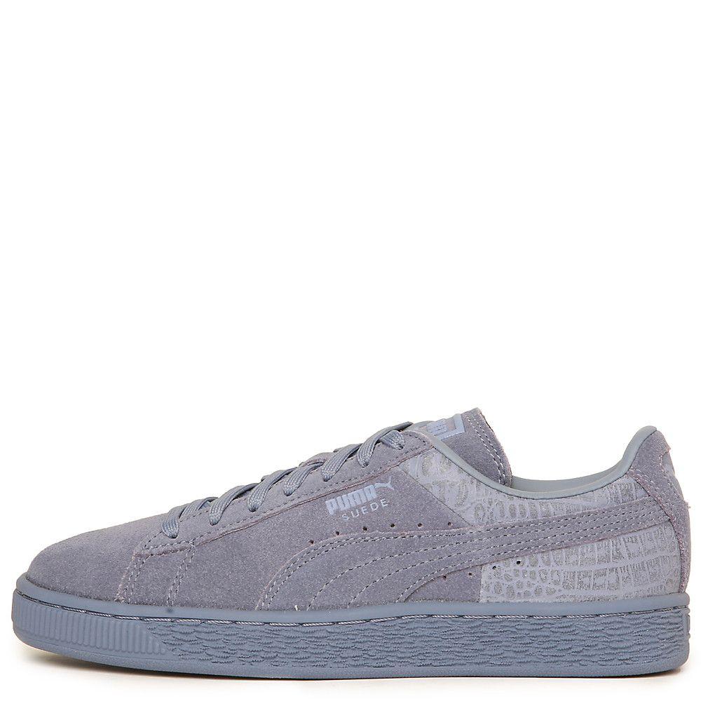 Women s Suede Classic Emboss Casual Sneaker Light Blue 421e3ff02