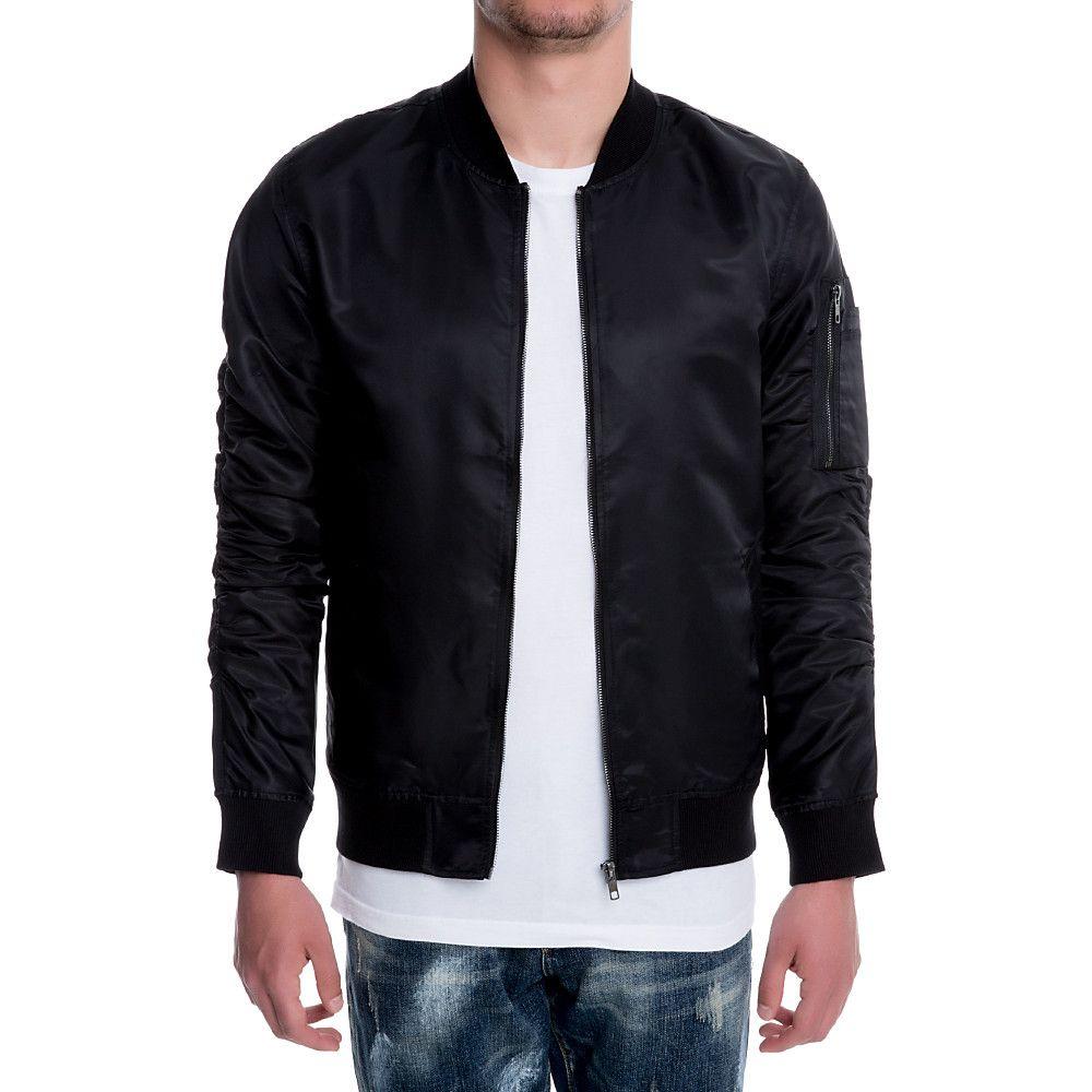 0669d916d14b Men's Nylon Bomber Jacket BLACK