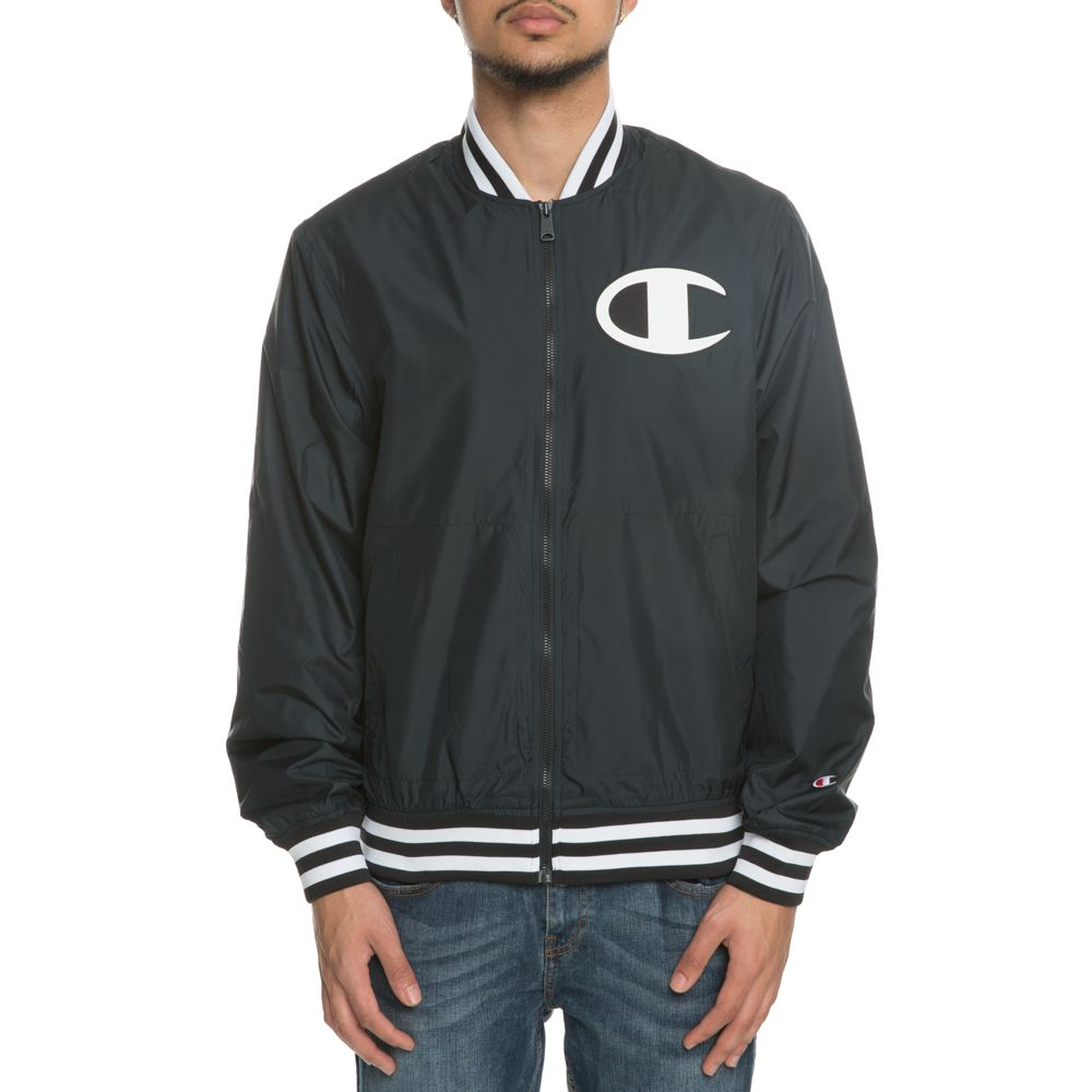 f5abcd74222 MEN S CHAMPION SATIN BASEBALL JACKET BLACK