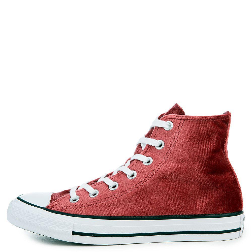 Women s Chuck Taylor All Star Velvet Hi Sneaker red block white white c2786ac1b72c