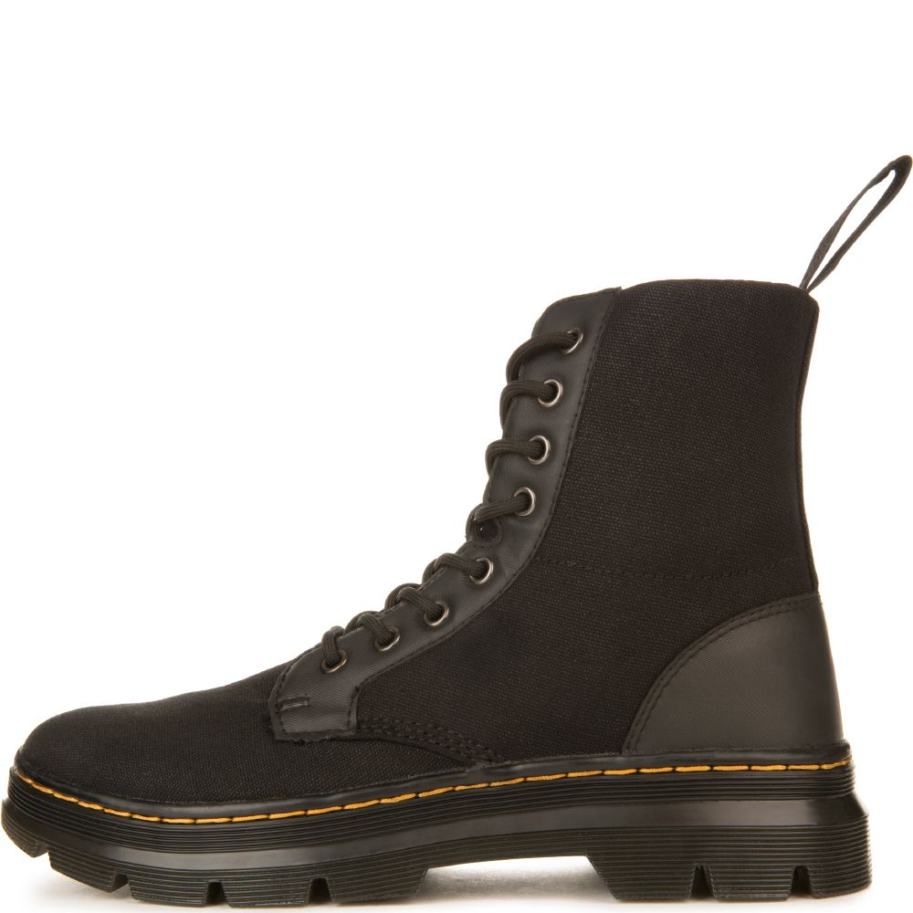 Dr Martens Unisex Combs Black Canvas Boots Black