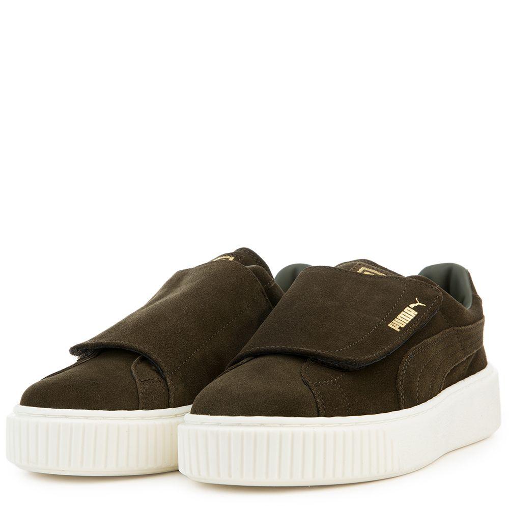 7736e03d8f26 Women s Suede Platform Strap Sneaker OLIVE NIGHT OLIVE NIGHT  MARSHMALLOW