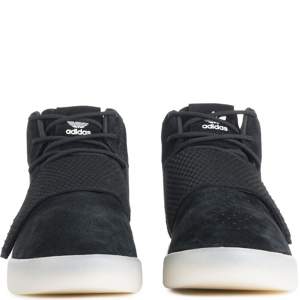 Men S Tubular Invader Strap Casual Lace Up Shoe Black