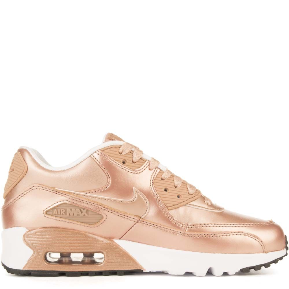 brand new 03ec7 01201 AIR MAX 90 SE LTR (GS) Rose Gold White Black