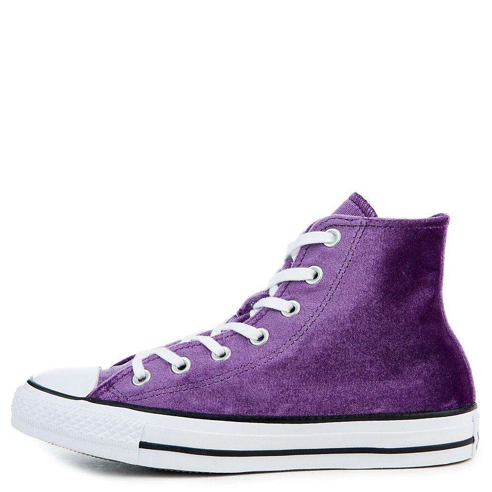 32123667cbb4 Women s Chuck Taylor All Star Velvet Hi Sneaker night purple white ...