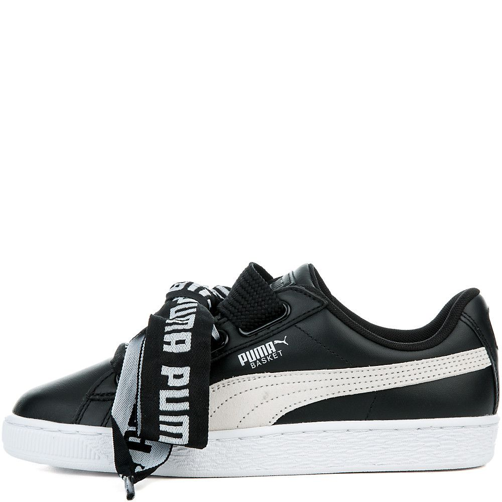 711741a494d1 Women s Basket Heart De Sneakers PUMA BLACK PUMA WHITE