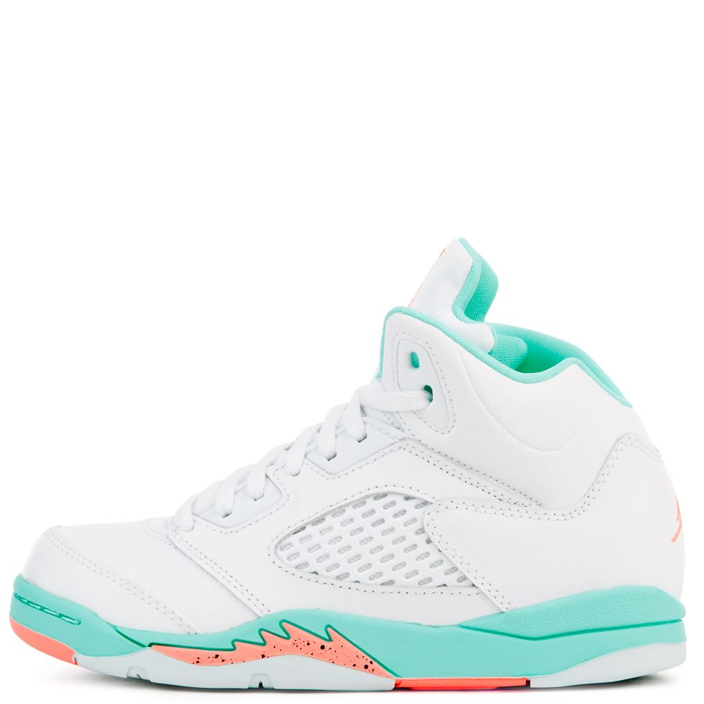 9dae3aac663 JORDAN 5 RETRO GP WHITE CRIMSON PULSE-LIGHT AQUA-BLACK