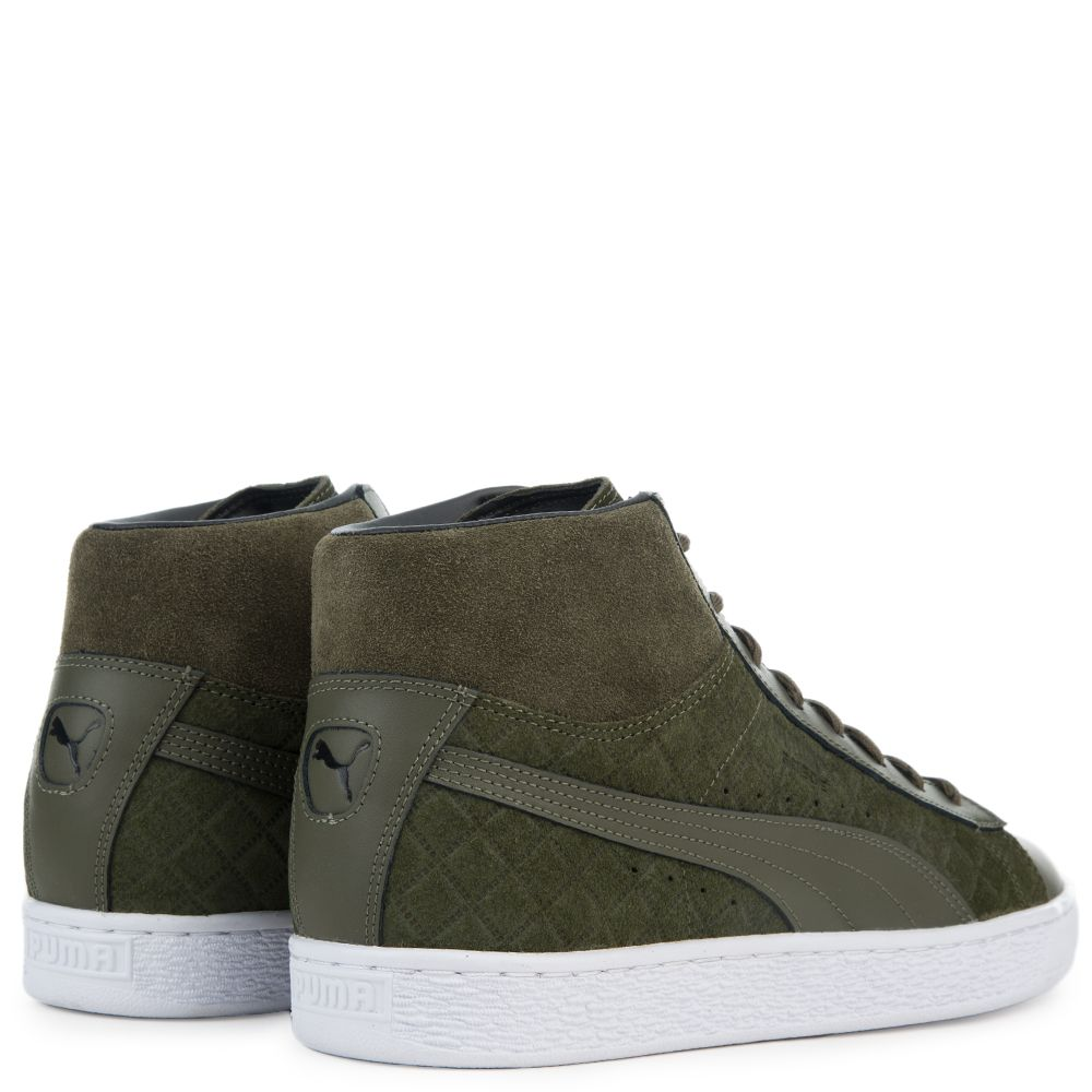 e08aeeeb1acb Men s Suede Classic Mid Quilt Sneaker OLIVE NIGHT