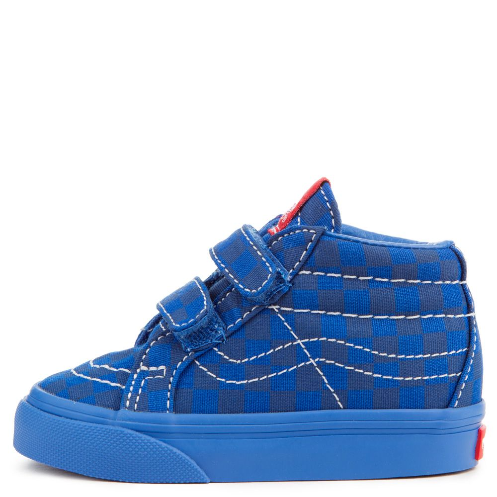 d10fb6458cdc TODDLER VANS SK8-MID REISSUE V MONO CHECKERBOARD BLUE