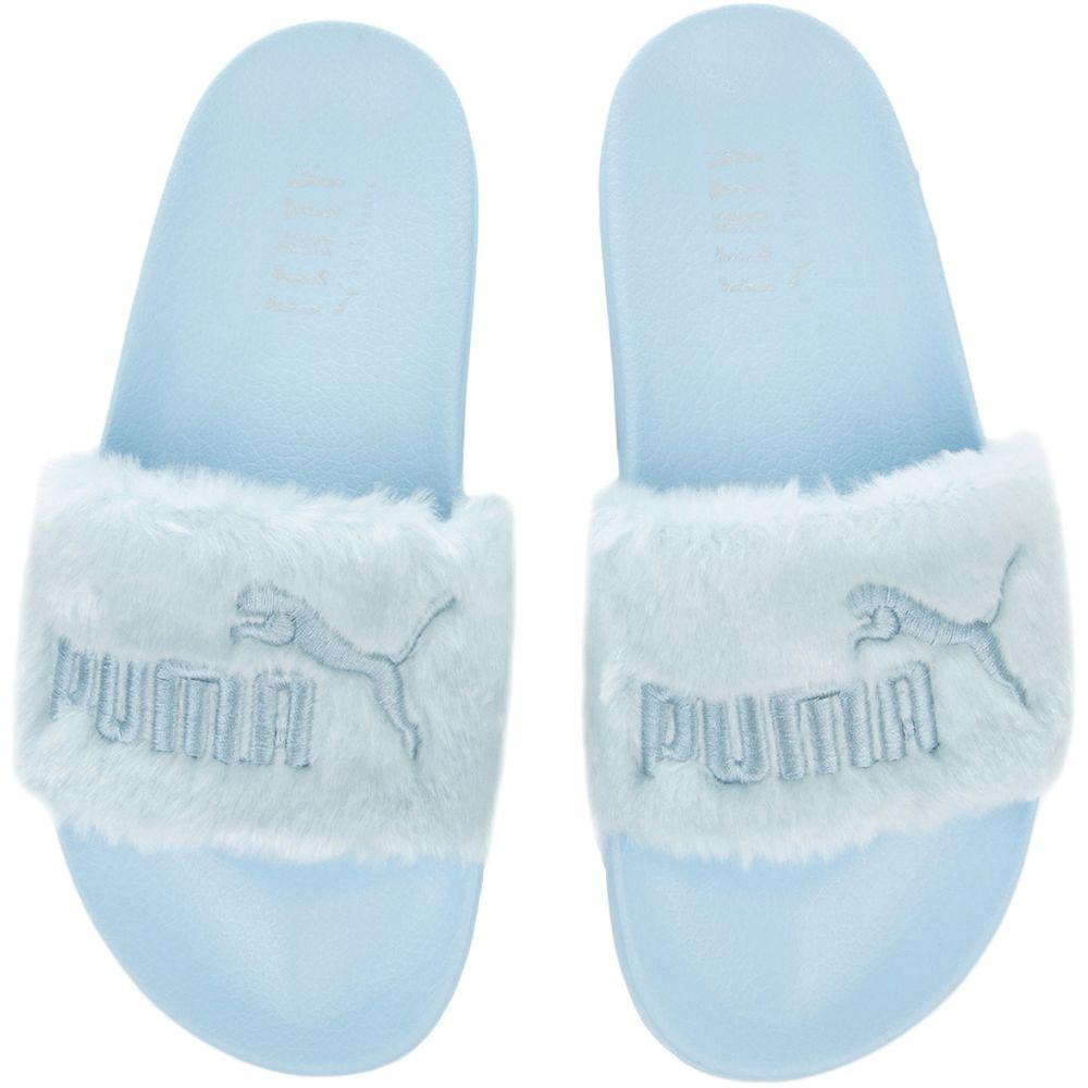 fenty fur slides cool blue puma silver