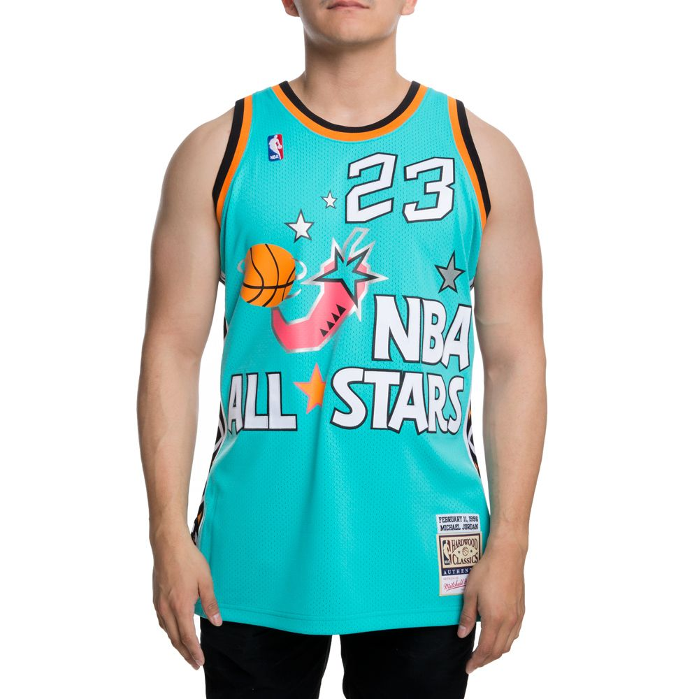 e71bc655c AUTHENTIC ALL-STAR EAST 1996 MICHAELJORDAN JERSEY TEAL BLK ...