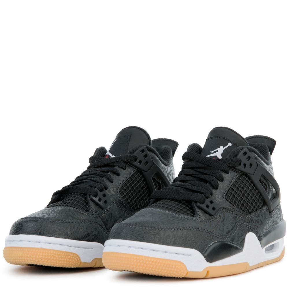 049958d4253 (GS) AIR JORDAN 4 RETRO SE BLACK/WHITE-GUM LIGHT BROWN