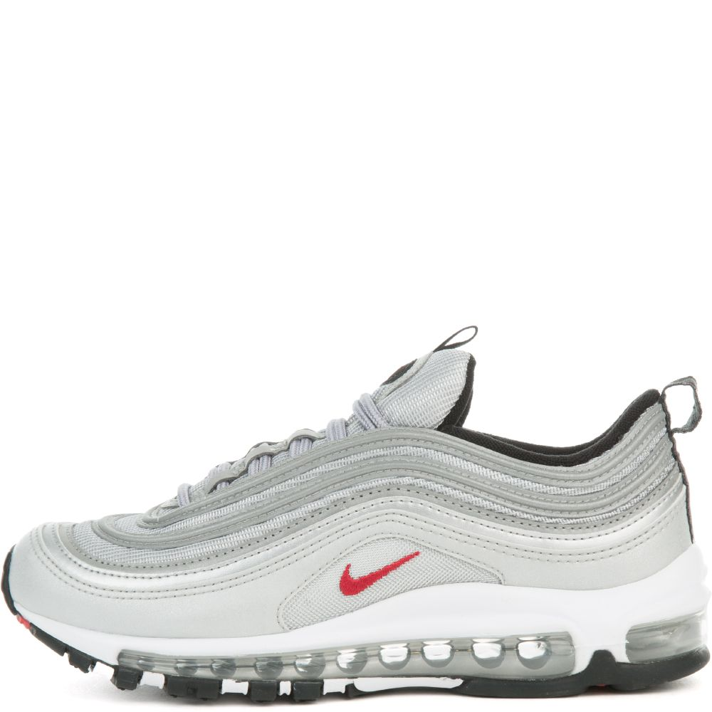 BOYS' NIKE AIR MAX 97 QS (GS) METALLIC SILVERVARSITY RED WHITE