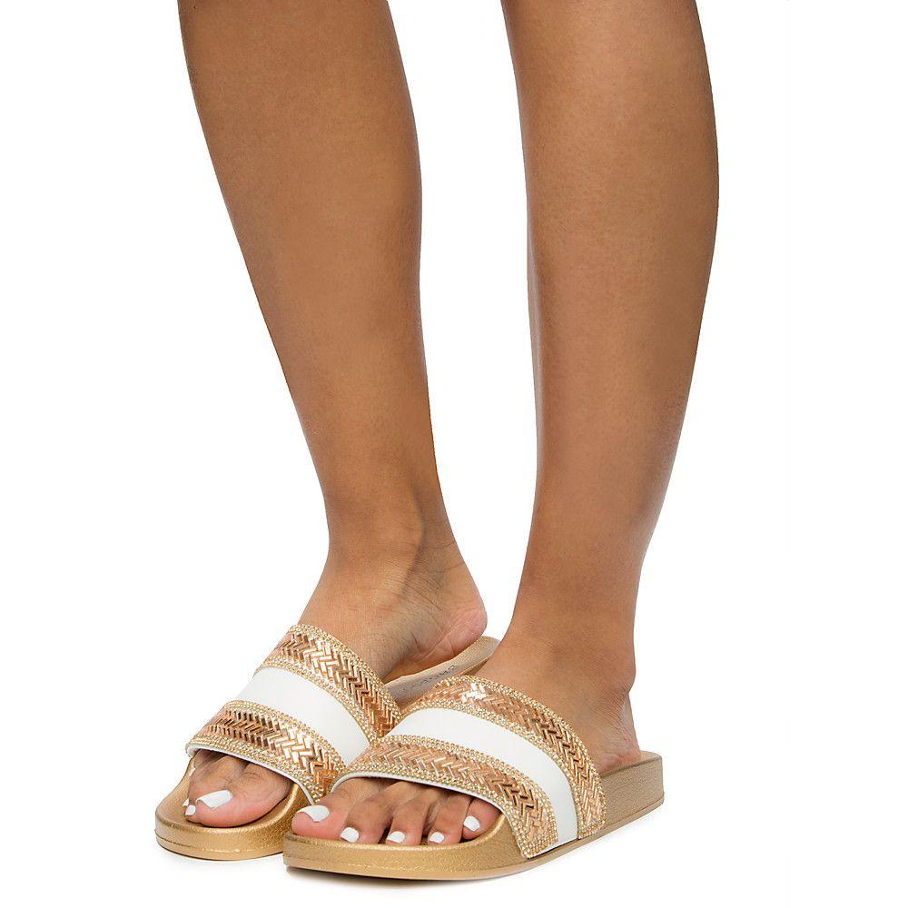 BAMBOO Womens Flatter-29s Slides Sandal