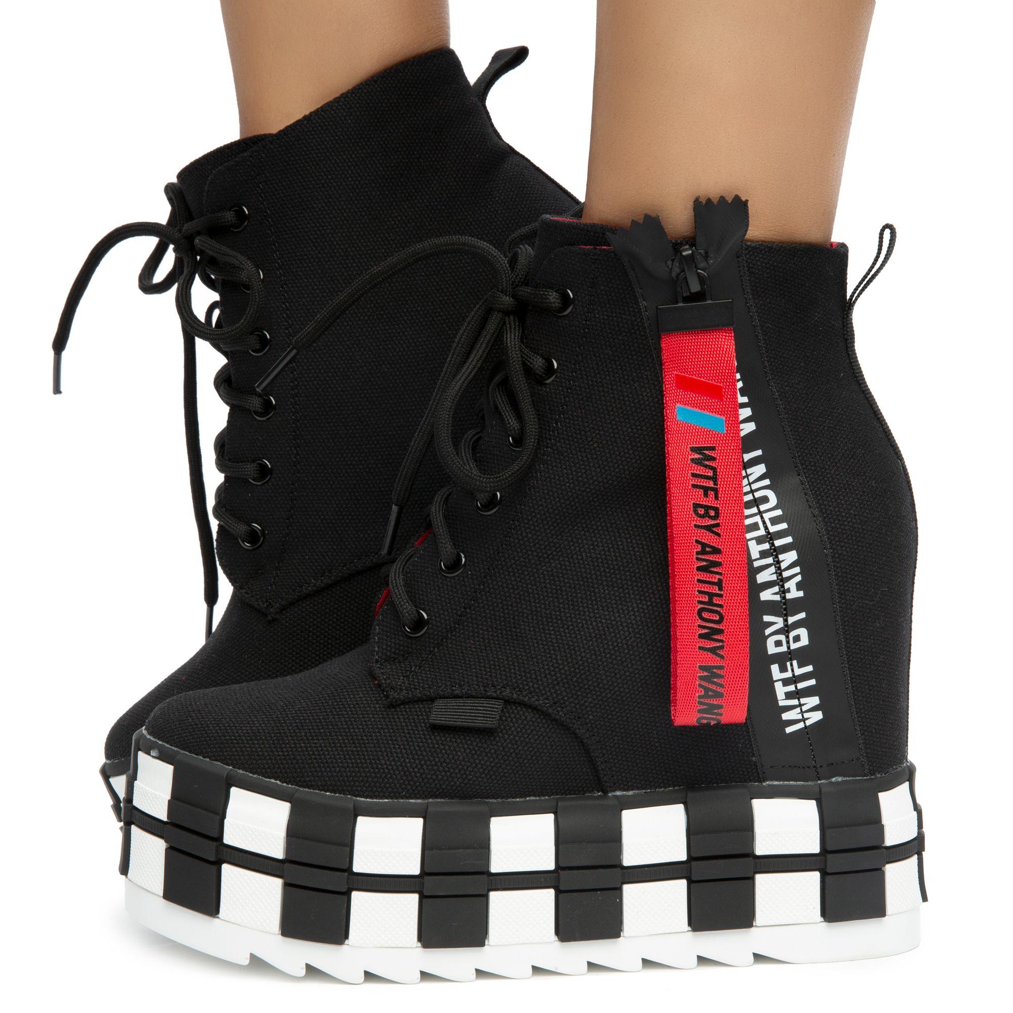 Minson Wedge Sneakers Black Fabric