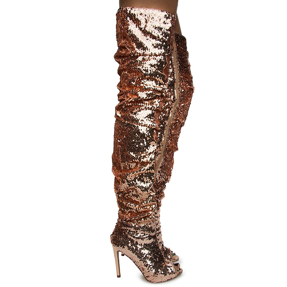 over the knee boots glitter