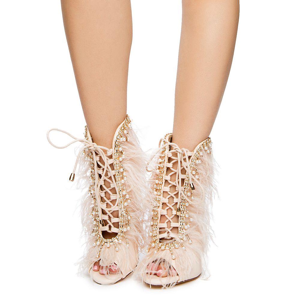 Womens Barbara-102 High Heel Ankle Boots Nude