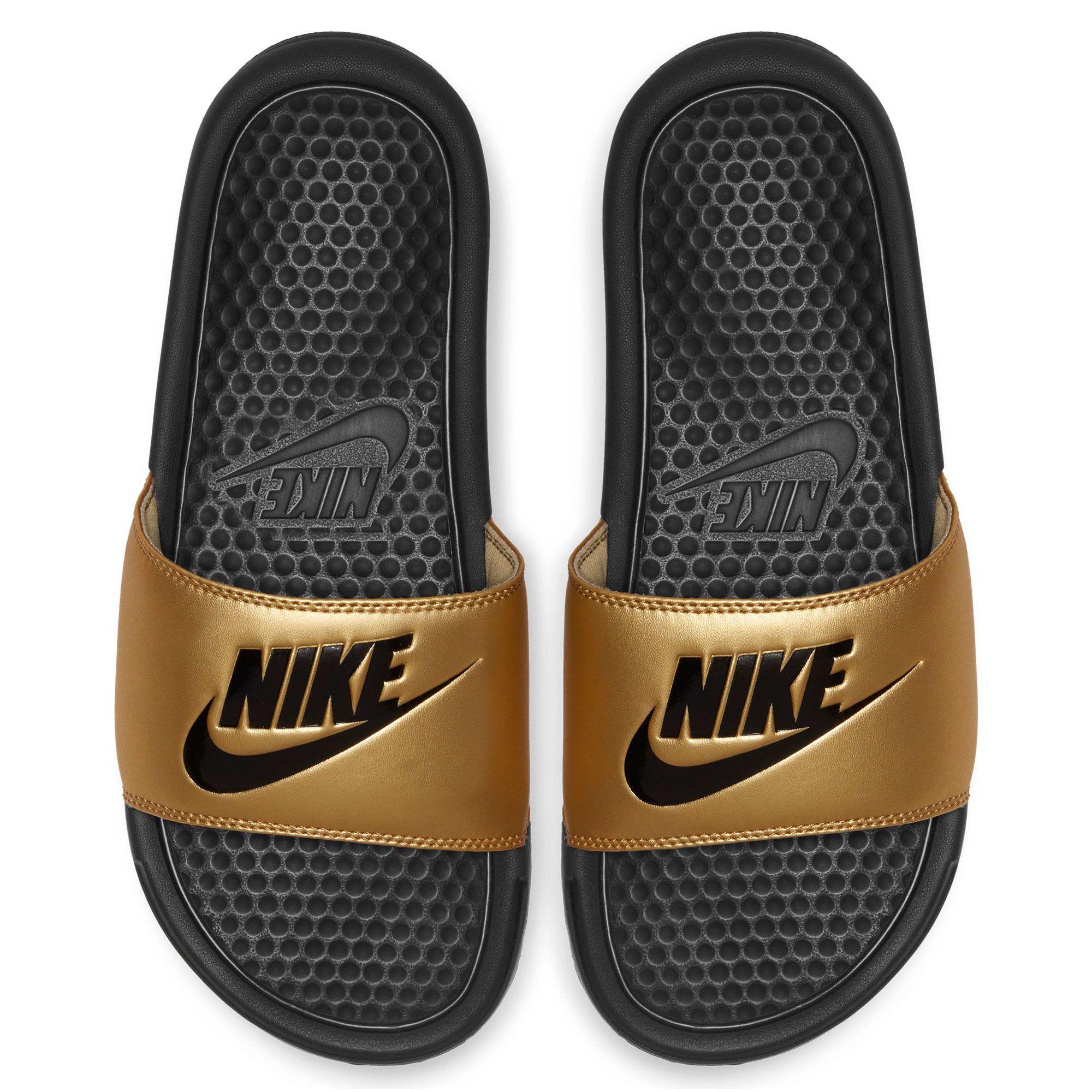 women's nike benassi just do it metallic slide sandals