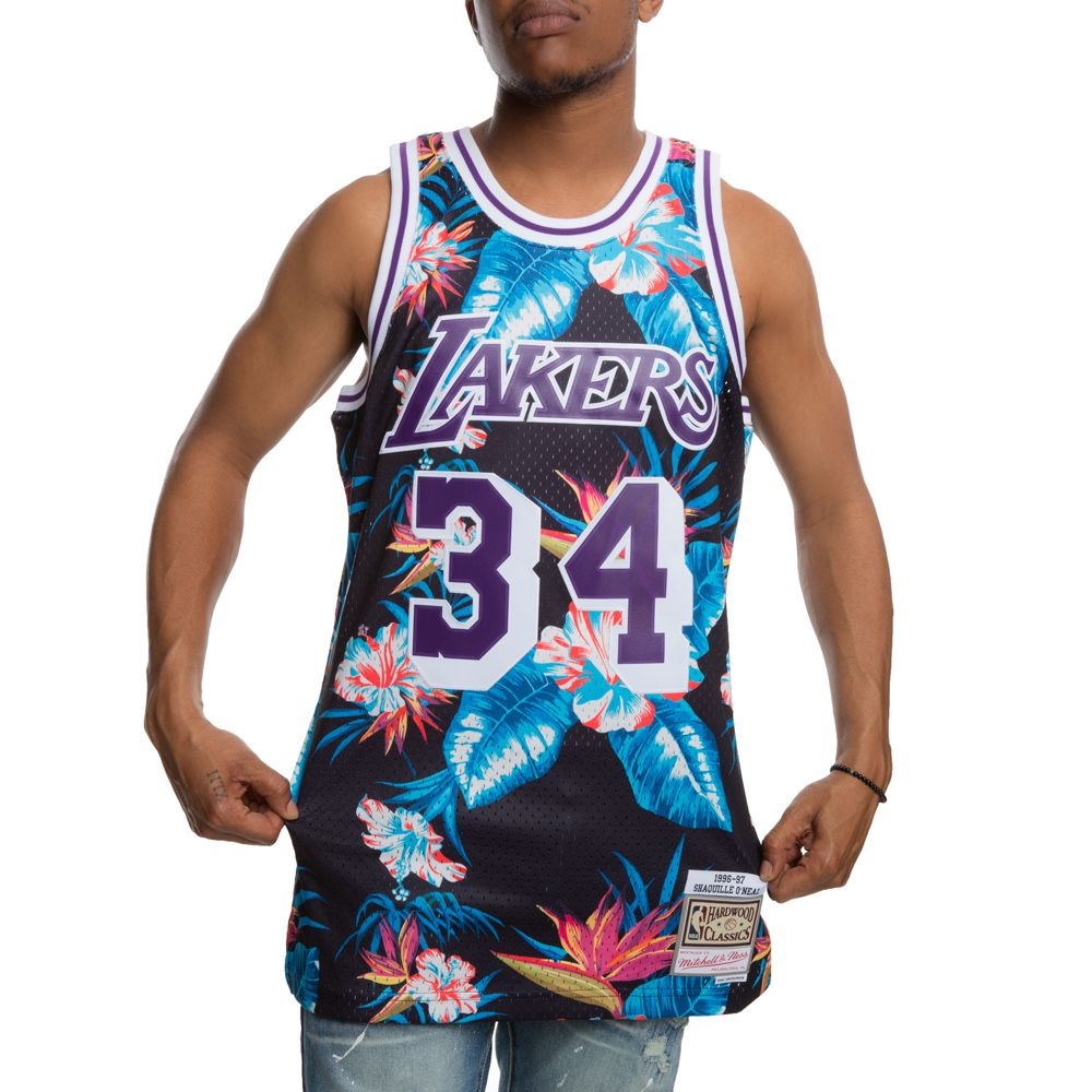 quality design 1e54a c9071 LAKERS SHAQUILLE O'NEAL FLORAL SWINGMAN JERSEY BLACK