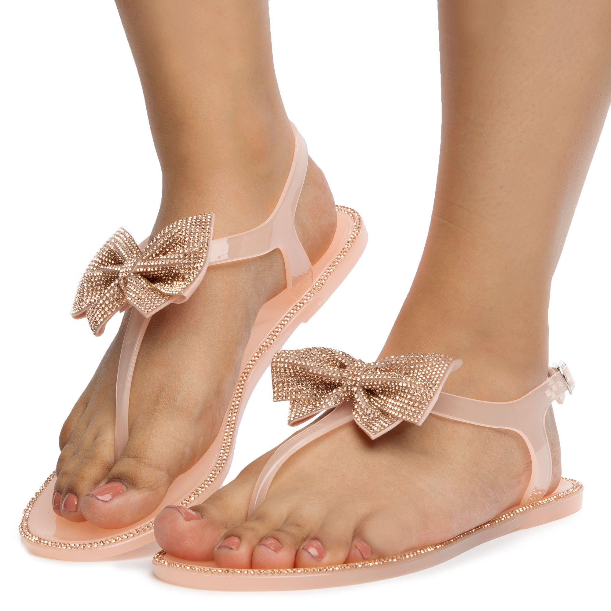 Nude Clear Rhinestone Bow Sandals