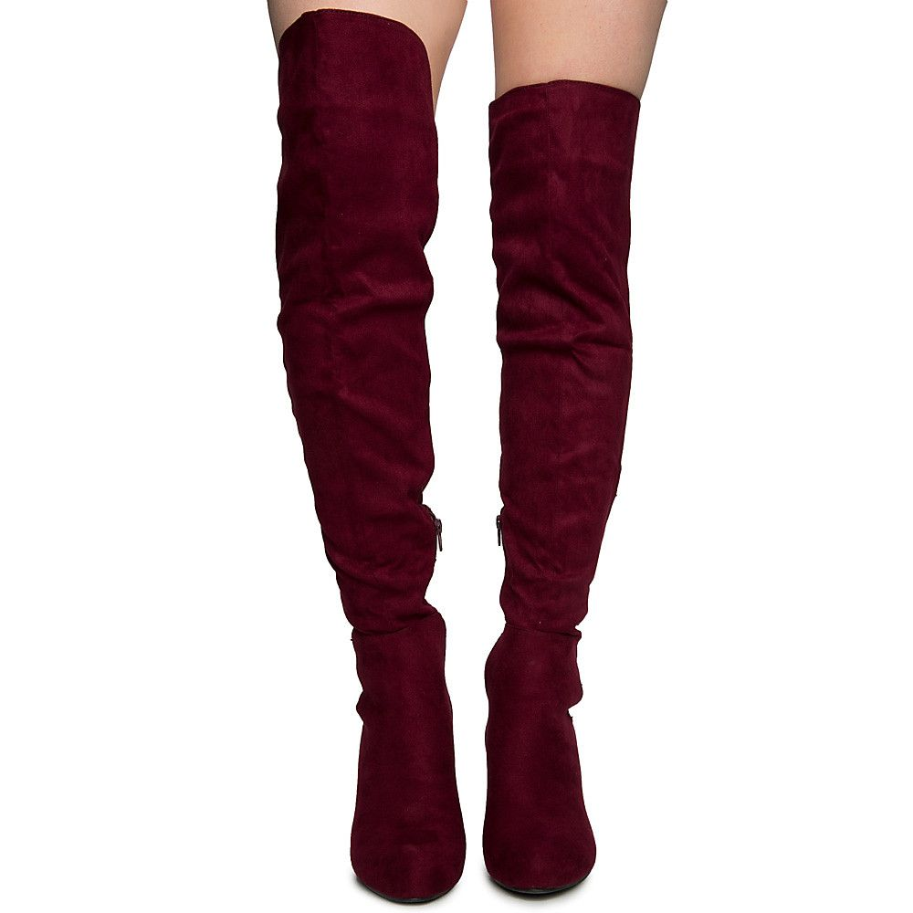 diversified latest designs hot products so cheap Women's Amaya-28 Thigh High Boots BURGUNDY V. SUEDE