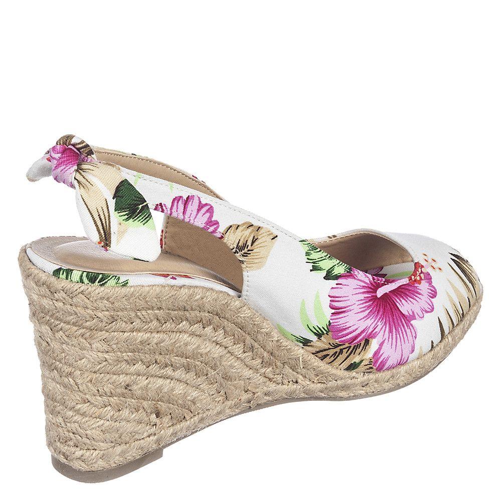 Womens Otina-S Woven Wedge Dress Shoe White Floral