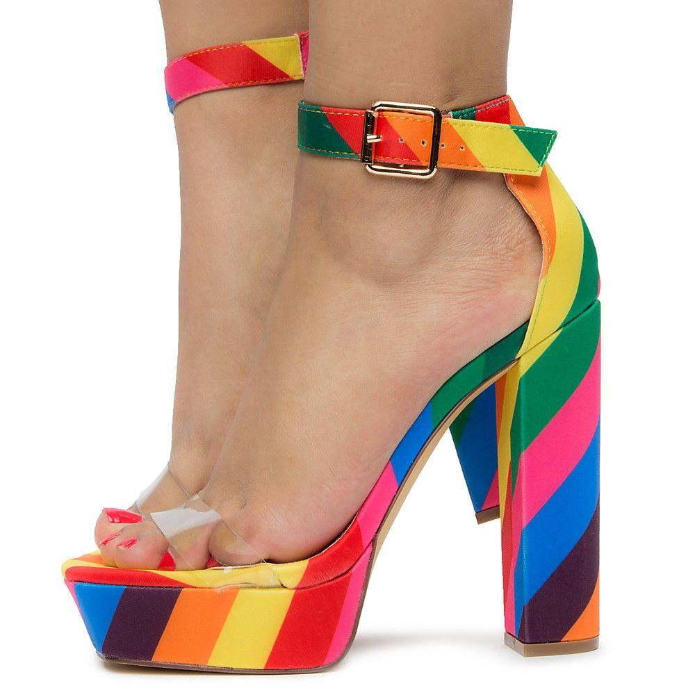 Ciclope Anche Caso Wardian  Women's Yuko-40 Platform Heels Rainbow