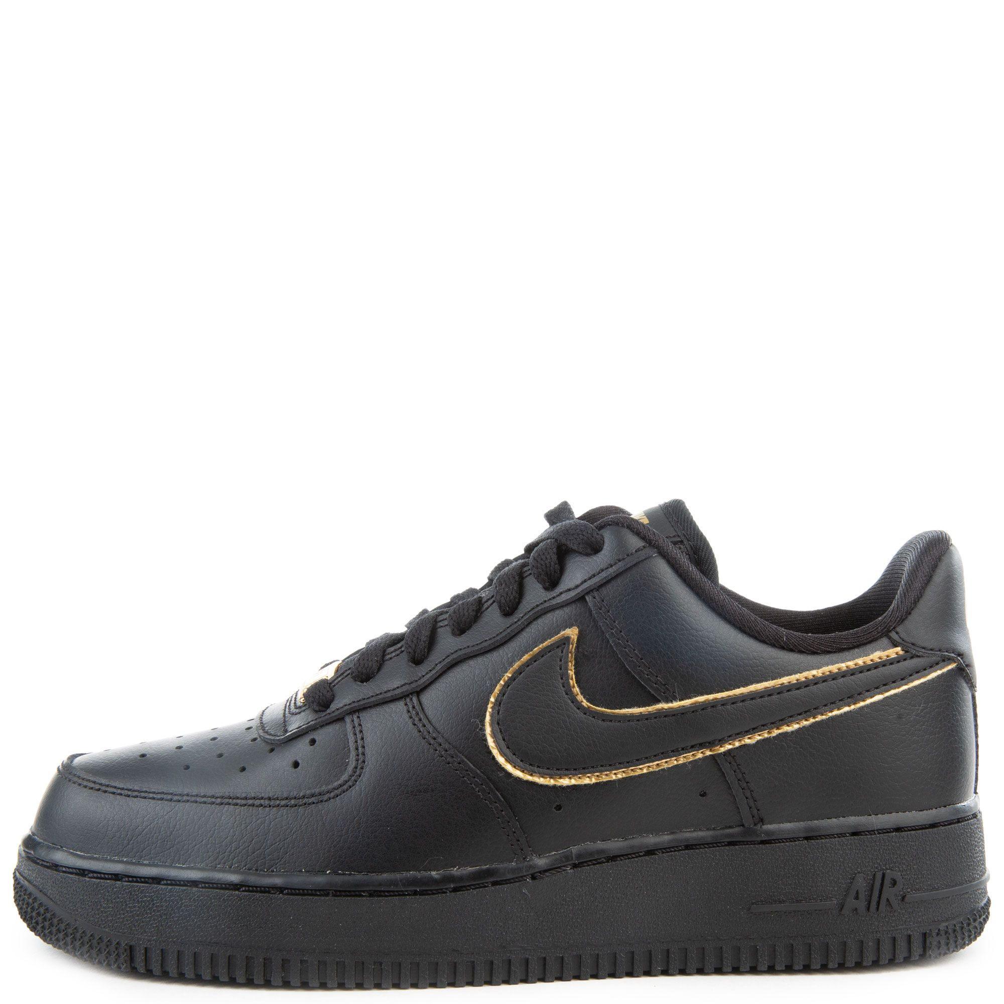 Women S Air Force 1 07 Essential Black Black Metallic Gold