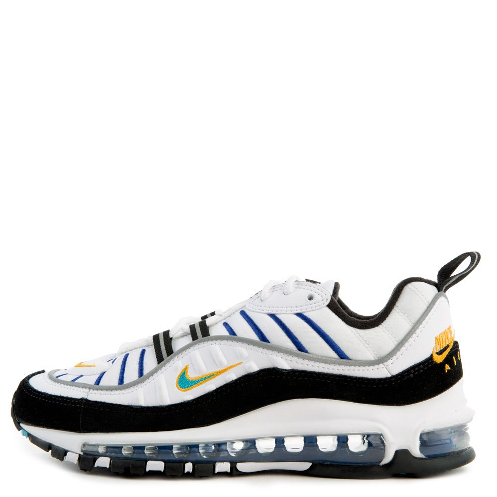 the latest f00c7 e365d (GS) Air Max 98 White/Teal Nebula-University Gold-Black