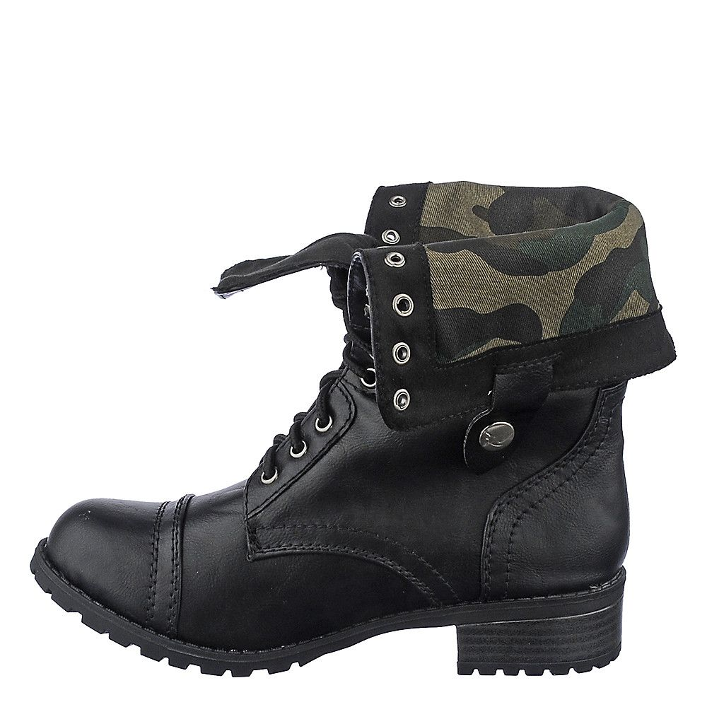 Fold Over Combat Boots For Women