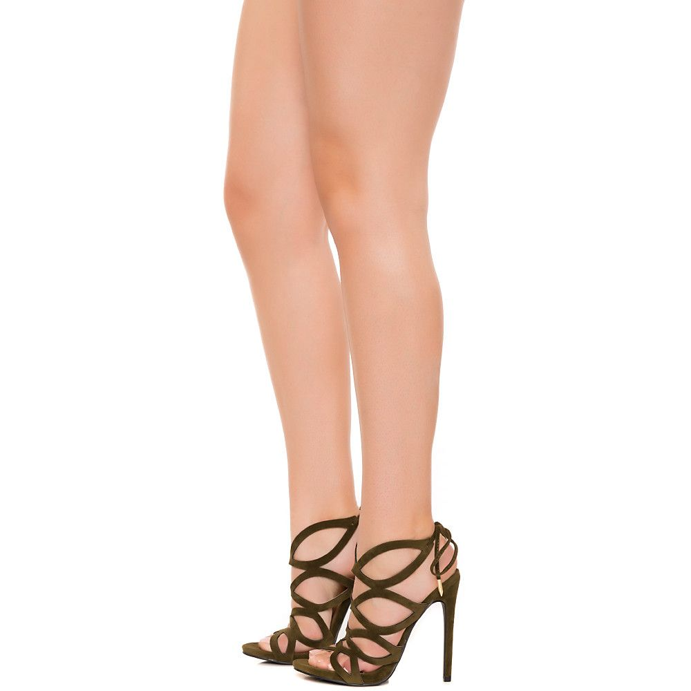 Streetwise Lace-Up High Heel Olive Green