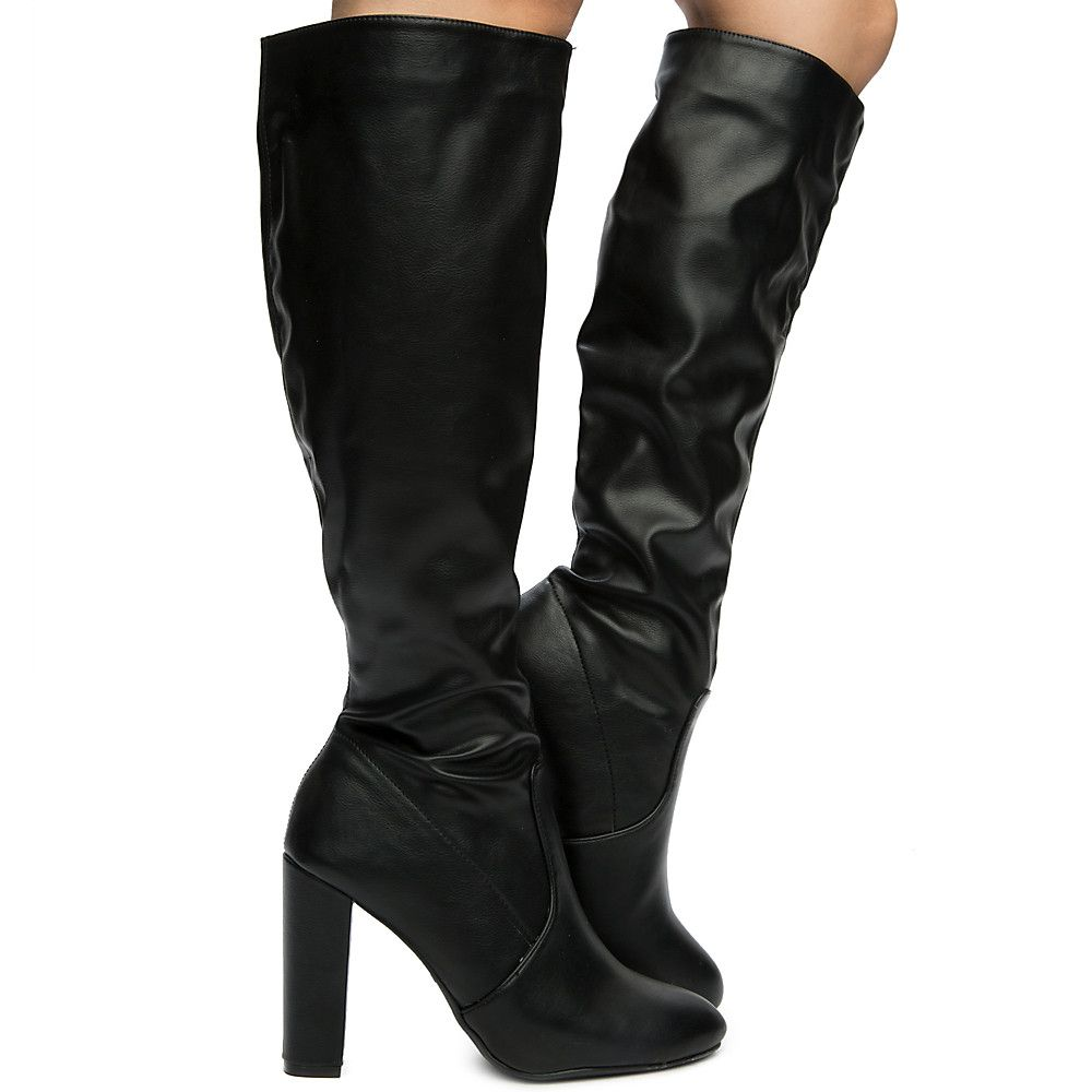 """NEW Ladies Black 3.5/"""" High Heel Round Toe Over Knee BootS By Bamboo Size 9"""