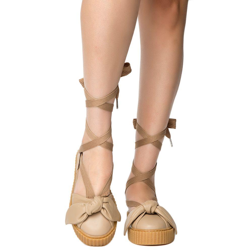 super popular 501fd bcb71 Womens Bow Creeper Sandal Natural-Natural-Oatmeal