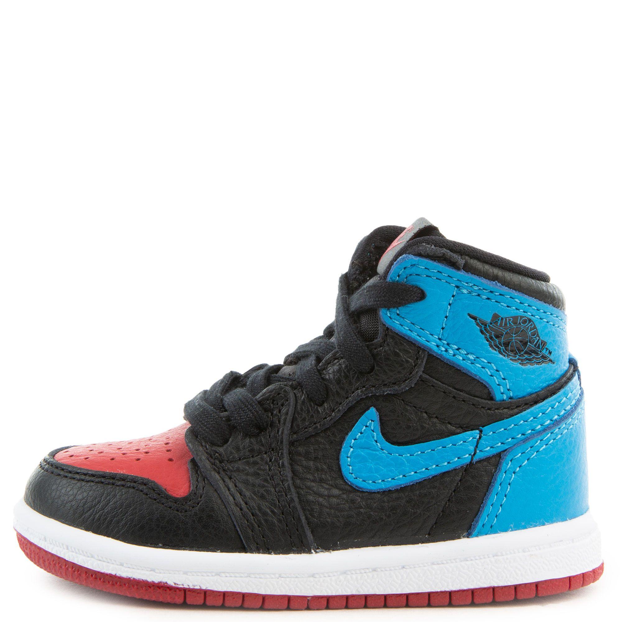 Td Air Jordan 1 High Og Black Dk Powder Blue Varsity Red