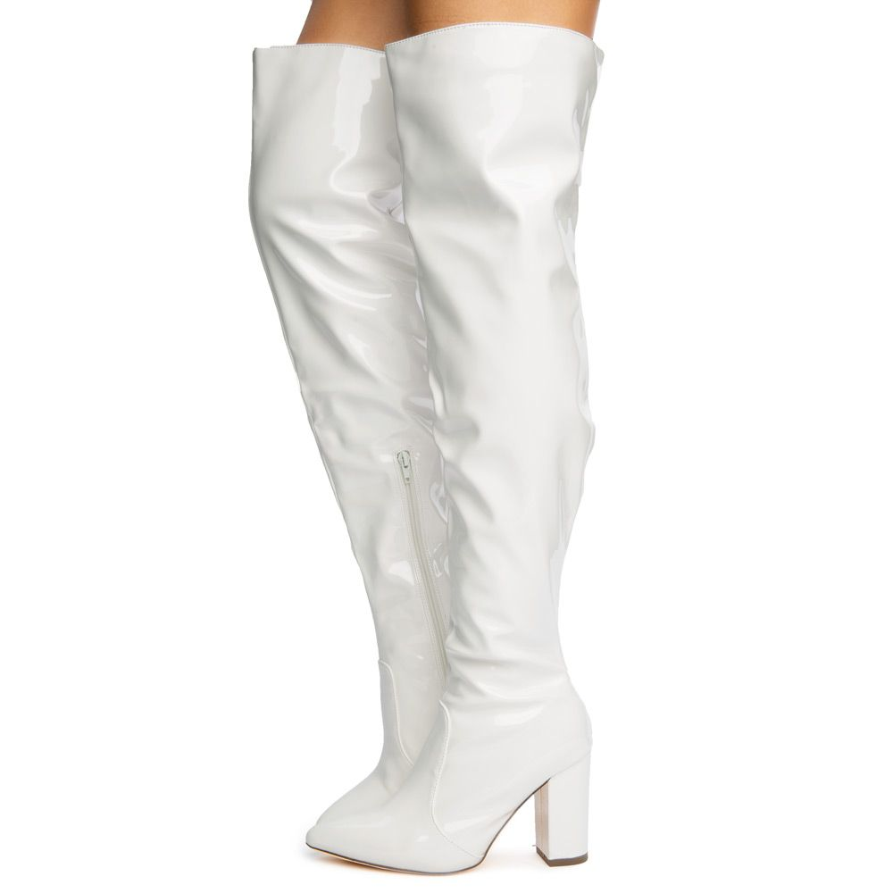 Tinashe-2 Patent Pointy Thigh High Boots