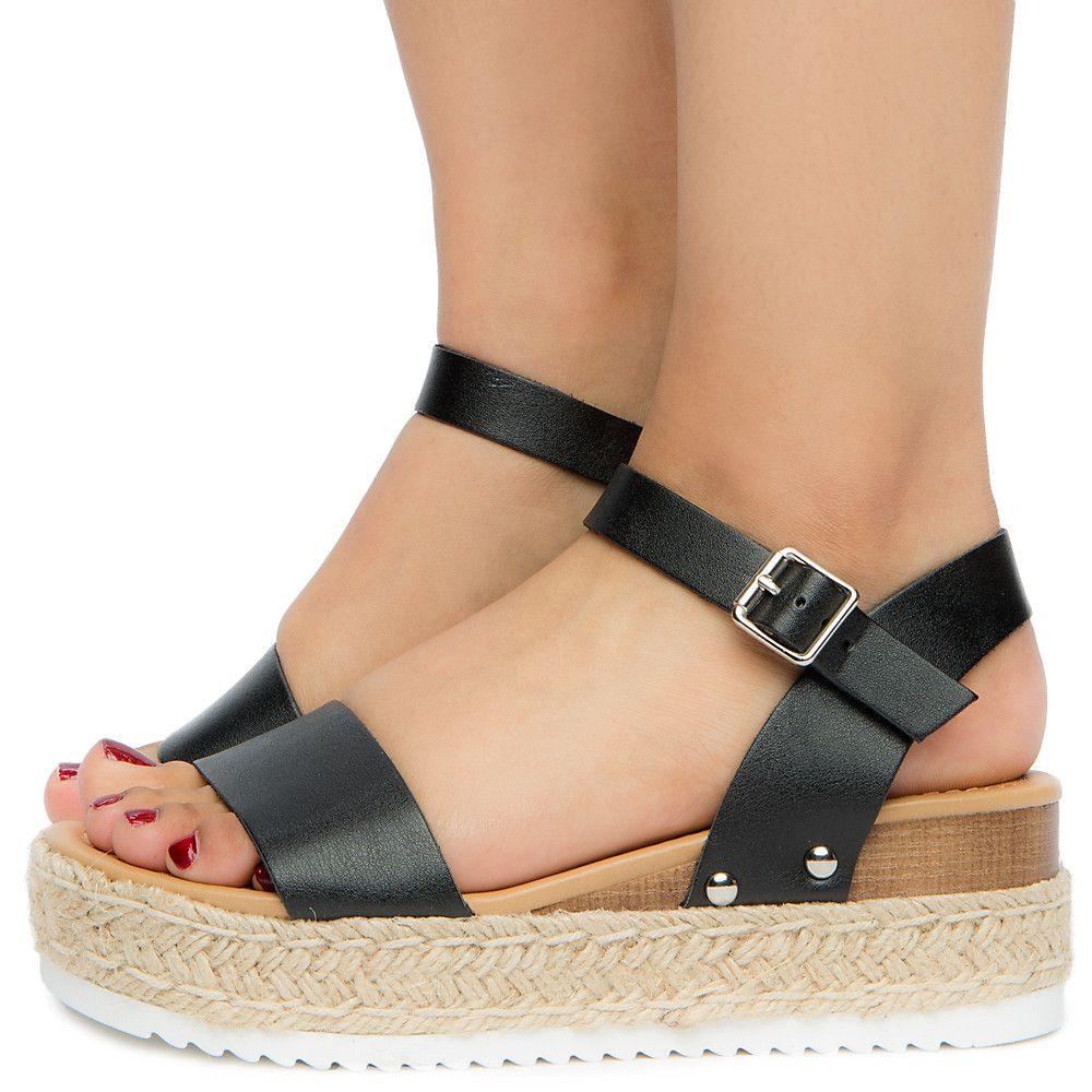 Women's Platform Sandal BLACK PU