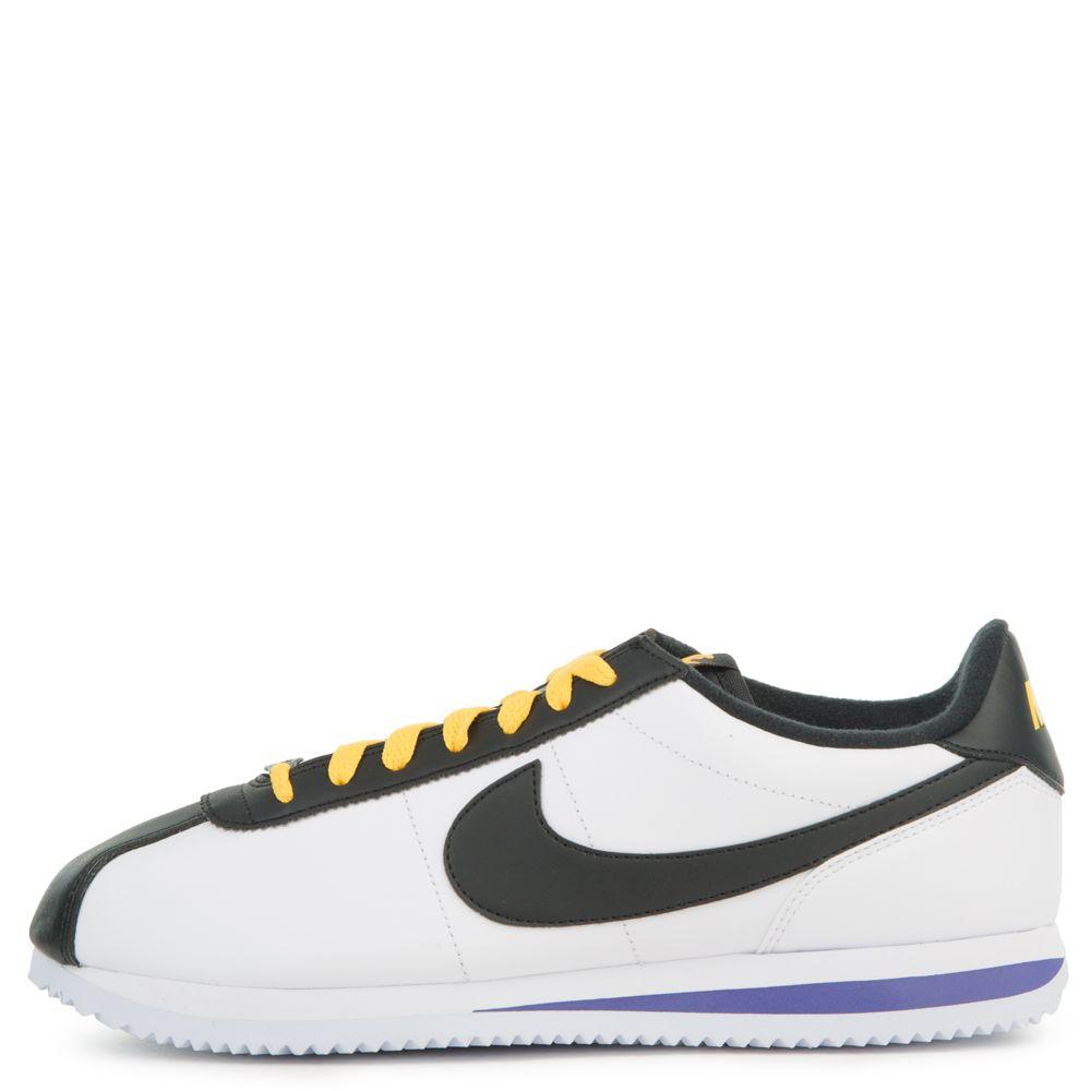 pretty nice 35db3 23ce3 cortez basic leather white/black-amarillo-field purple